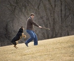 Man playing fetch with his dog